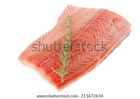raw salmon fillet isolated with rosemary over white - stock photo