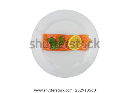 Raw Salmon Fillet on a Plate Isolated on a White Background  - stock photo