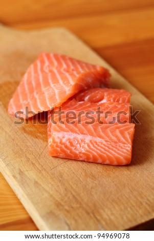 Raw Salmon Fillet (soft focus) - stock photo