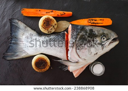 raw salmon for fish soup - stock photo