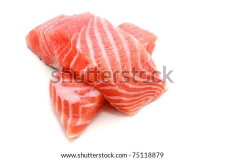 Raw Salmon on white background - stock photo