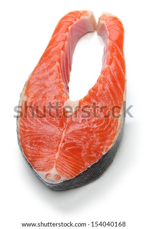 raw salmon steak isolated on white background