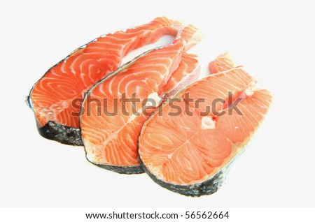 raw salmon steaks    isolated on a white background
