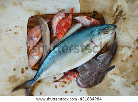 raw sea fish for soup - stock photo