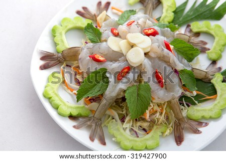raw shrimp and spicy sauce, seafood thailand (spicy salad shrimp in fish sauce). - stock photo