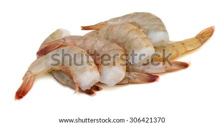 Raw shrimp on white background - stock photo