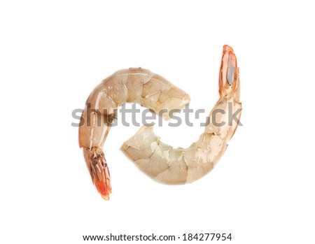 Raw shrimps close up. Isolated on a white background. - stock photo
