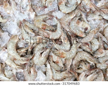 Raw shrimps for sale on the market in thailand