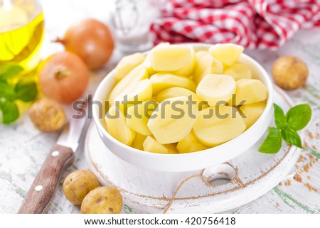 raw sliced potato - stock photo