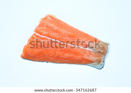 Raw sliced salmon isolated on white.