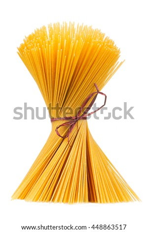 Raw Spaghetti Tied in Bundle Isolated on White Background