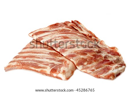 Raw spare ribs on white background - stock photo