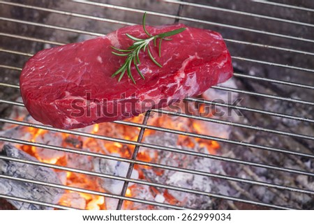 raw steak on the bbq  - stock photo