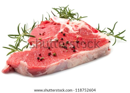 raw T-bone with rosemary on white background - stock photo
