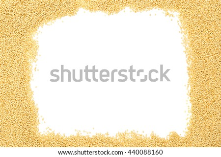 Raw, uncooked amaranth seeds frame on white background with copy space - stock photo