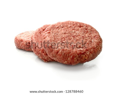 Raw uncooked beef burgers stacked against a white background with soft shadows. Copy space. - stock photo