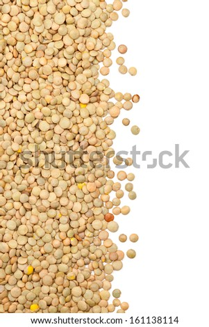 Raw uncooked lentils border on white background - stock photo