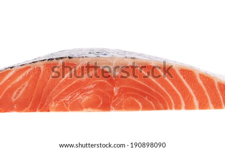 Raw uncooked salmon fish. Isolated on a white background. - stock photo