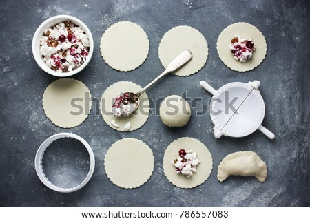 Raw Vareniki With Cranberry Sugar And Cottage Cheese Top View, Cooking  Homemade Dumplings Process