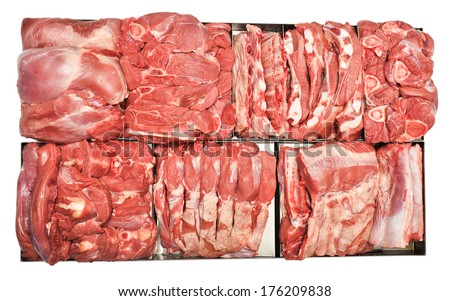 raw veal in store - stock photo