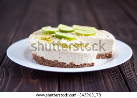 Raw vegan lime cheesecake - stock photo