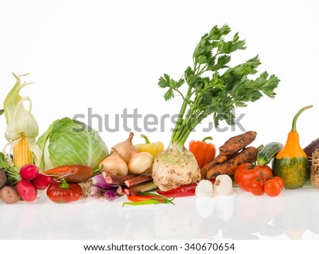 raw vegetables group for a healthy life - stock photo