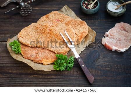 Raw Wiener Schnitzel Breaded Steak Preparation Stock Photo ...