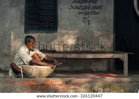 RAXAUL, INDIA - NOV 8: Unidentified Indian man on Nov 8, 2013 in Raxaul, Bihar state, India. Bihar is one of the poorest states in India. The per capita income is about 300 dollars.