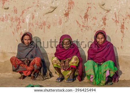 RAXAUL, INDIA - NOV 11: Unidentified Indian women on Nov 11, 2013 in Raxaul, Bihar state, India. Bihar is one of the poorest states in India. The per capita income is about 300 dollars.