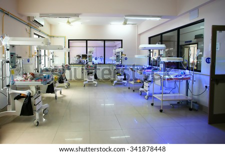 RAXAUL, INDIA - OCT 21: Neonatal intensive care unit of a local hospital on Oct 21, 2011 in Raxaul, Bihar, India. Bihar is one of the poorest states in India.  - stock photo