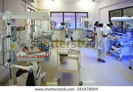 RAXAUL, INDIA - OCT 21: Neonatal unit of a local hospital on Oct 21, 2011 in Raxaul, Bihar, India. Bihar is one of the poorest states in India.  - stock photo