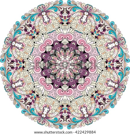 Ray edge mandala tracery wheel mehndi design. Ethnic colorful doodle texture. Curved doodling mehndi motif. Abstract ornament for fabric or printing.