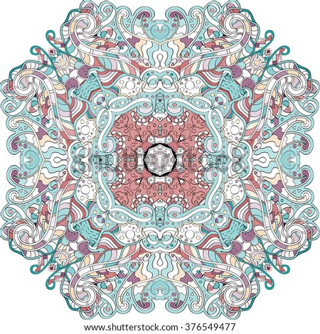 Ray edge mandala tracery wheel mehndi design. Tracery calming ornament. Neat even colorful harmonious doodle texture. Indifferent discreet. Trace bracing usable doodling mehndi pattern.