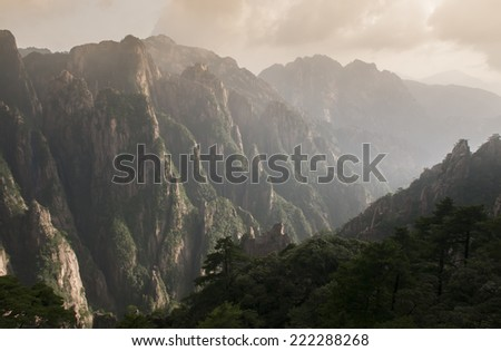 ray light of Mount Huangshan -- World Heritage of China  - stock photo
