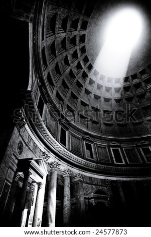 Ray of Light inside the Pantheon - stock photo