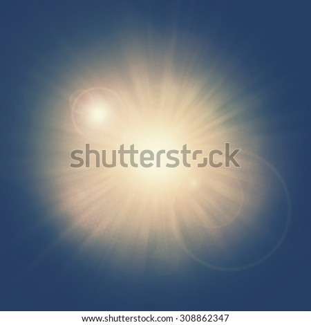 ray of light sun beam radius center with bokeh flare background abstract