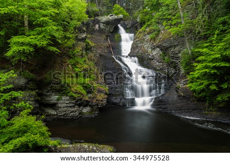 Raymondskill Falls in Delaware Water Gap National Recreation Area - stock photo