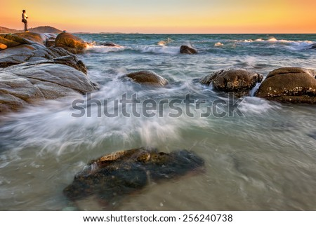 Rayong coastal waves from Thailand,Larn hin khao - stock photo