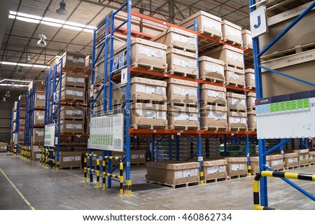 Rayong plant Thailand , July 27 - 2016 : Factory warehouse and finished goods area in Rayong factory for shipping to customer and production process.