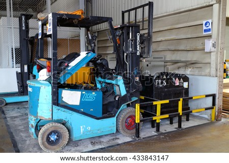Rayong plant - Thailand , June 08 - 2016 : Lift truck in factory warehouse lift material for support production line assembly in Thailand