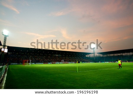 RAYONG,THAILAND-09 APRIL:Panoramic View sunset of PTT Stadium during The Thai Premier League PTT Rayong F.C and Muangthong United at PTT Stadium on Apr 09,2014 in,Thailand