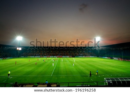 RAYONG,THAILAND-09 APRIL:View sunset of PTT Stadium during The Thai Premier League PTT Rayong F.C and Muangthong United at PTT Stadium on Apr 09,2014 in,Thailand