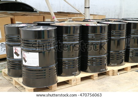 Rayong Thailand , August 15 - 2016 : Chemical drum in factory scrap yard area waiting for send to disposal.
