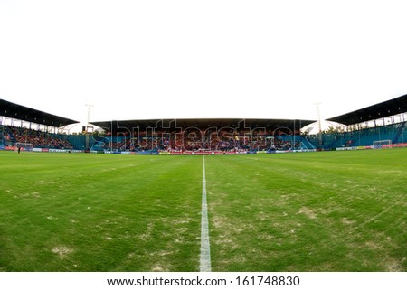 RAYONG,THAILAND-28 AUGUST:Panoramic view of PTT Stadium  during Thai FA Cup between Muangthong United and PTT Rayong F.C.at PTT Stadium on Aug 28,2013 in Thailand