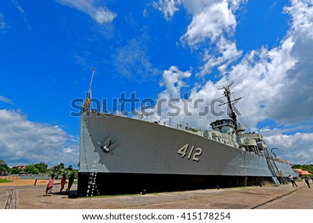 RAYONG-THAILAND-AUGUST 23 : Retired battleship on blue sky on August 23, 2015 Rayong Province,Thailand