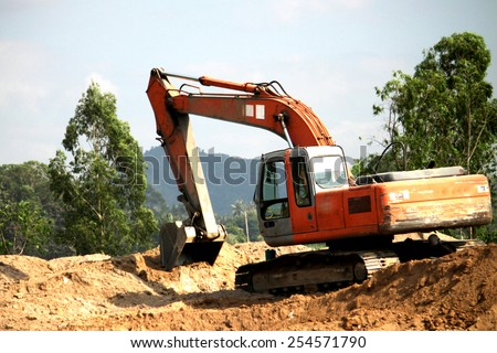 RAYONG-THAILAND-DECEMBER 25 : A loader for Construction of concrete bridge on the way on December 25, 2014 Rayong Province, Thailand.