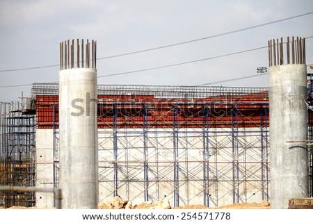 RAYONG-THAILAND-DECEMBER 25 : Construction of concrete bridge on the way on December 25, 2014 Rayong Province, Thailand. - stock photo