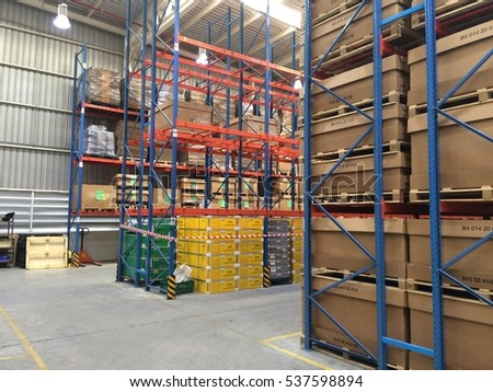 Rayong Thailand , December 17 - 2016 : Factory warehouse shelf and high rack keep material support customer in Thailand