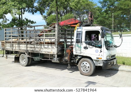 Rayong Thailand , December 02 - 2016 : Truck carry scrap from factory area for send to eliminate or recycle in Thailand factory area
