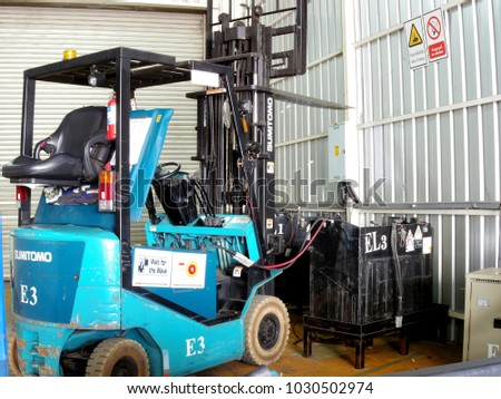 Rayong Thailand , Feb.20 - 2018 : lift truck in factory for lift material